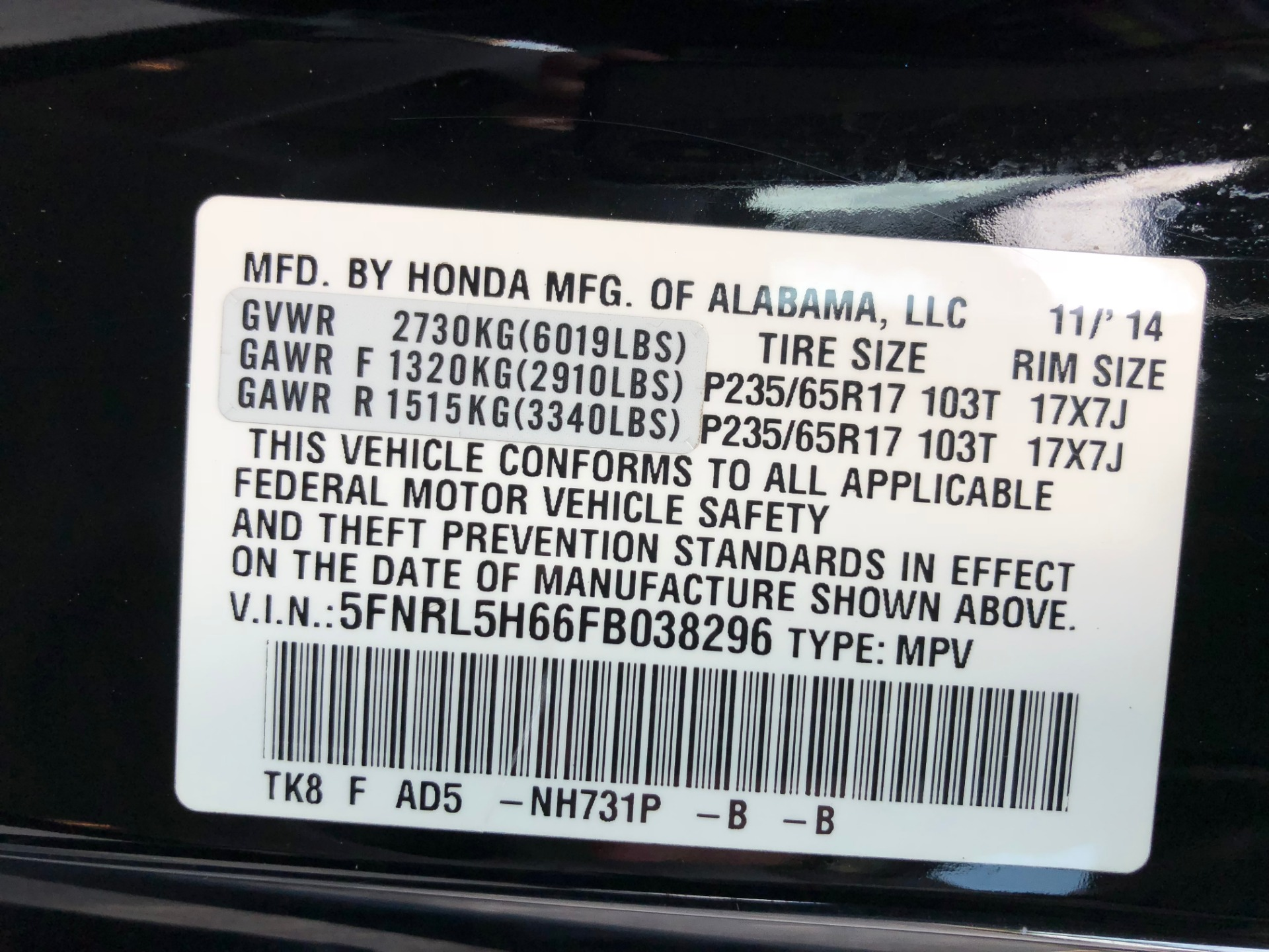 2015 Honda Odyssey Ex L Dvd Stock 1676 For Sale Near Oil Filter Location Used