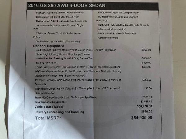 Used 2016 LEXUS GS350 350